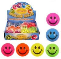 Kids LIGHT UP SMILEY BALL Happy Face Bouncy Foam Stress Relief Fidget Sensory UK
