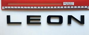 "SEAT ""LEON"" GLOSS BLACK REAR BADGE LOGO LETTERS BESPOKE 3mm ACRYLIC 3M BACKING"