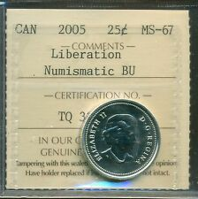 "2005 Canada Silver 25-cents ""Liberation"" Certified ICCS MS-67 NBU"