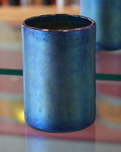 Iridescent Blue Art Glass Drinking Glass by Saul Alcaraz. Blown Glass