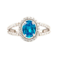 2.10Ct Natural Blue Topaz With EGL Certified Diamond Ring In 14KT White Gold