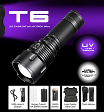 Powerful 1200 Lumen T6 LED Torch flashlight with UV light 395nm Airsoft Full set