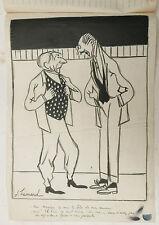 Beau Dessin Ancien Encre Illustration JOSEPH HEMARD c.1920 Artiste #5