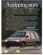 1986 Honda CIVIC Silver 4WD Station Wagon VTG PRINT AD