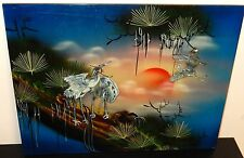 CHINESE MOTHER OF PEARL PELICAN PANEL PAINTING SIGNED
