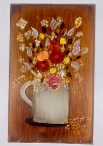 Original Folk Art Tole Painting Flowers Floral Farmhouse Decor Rustic Handmade