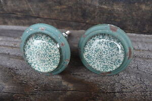 Shabby Chic Cast Iron Distressed Green w/Glass Pattern Knobs Dresser Drawer Pull