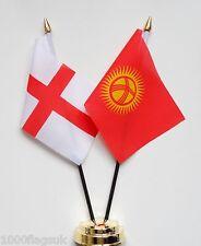 England & Kirgisistan Doppel Freundschaft Tisch Flagge Set