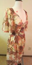 Sundance Wm's Size 14 Brushstroke Silk Dress Pinks/Beige/Yellows $148.00 NWT