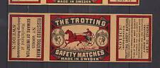 Ancienne  étiquette   allumettes Suède AZ2588 Trotteur Cheval 4