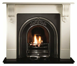 Replica Antique Limestone Fireplace, Cast Iron Inset, Granite Hearth & Gas Fire