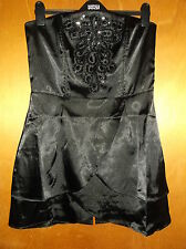 QED London Strapless Satin Layered Mini Dress w/Sequins & Beads UK 10 Black BNWT