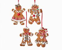 Gingerbread Cookies Boy and Girl Christmas Holiday Ornaments Set of 4 Claydough