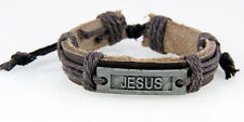 4030522 JESUS Leather Bracelet Christian Scripture Name of Jesus Bible Religious