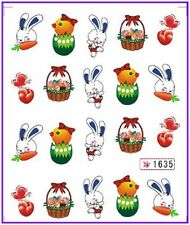 Nail Art Water Decals Stickers Transfers Easter Bunny Rabbit Eggs Chicken (1635)