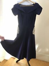 Vintage 1940s-1950s Swing Dress - Navy Blue with Lace Pockets