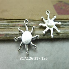 20pc Tibetan Silver Flower Sun Charms Pendant Jewellery Findings 16mm*19mmG246P