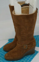 Womens UGG Australia Seline Tall Wedge Zip Brown Suede Sheepskin Boots Size 10