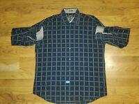 Bugatchi Men's Classic Fit Button Down Shirt XXL Brown Black Plaid EUC