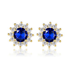 Solid Women 24K Yellow Gold Filled Tanzanite Sapphire Floral Stud Earrings Gifts