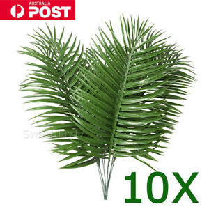 10PCS Big Palm Leaves Plastic Fake Plant Artificial Leaf Home Office Decor HOME