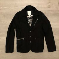 Diesel Womens Black Blazer Button Jacket Zipper Pockets Size Medium