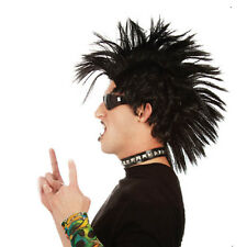 Adult Mens Black Punk Rock Mohawk Wig Costume Halloween Holiday Party Accessory