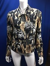 Joseph Ribkoff Size 14 Zippered Jacket Blazer Animal Print Made In Canada
