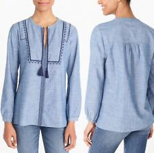 J.Crew Mercantile Shirt Womens Small Blue Boho Tassels Embroidered Peasant j6507