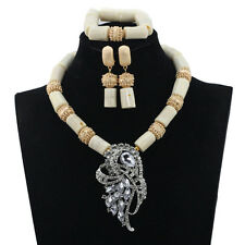 Latest White Traditional Coral Beads Necklace Bridal Wedding Party Jewelery Set
