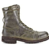 DIESEL CASSIDY BOOTS Mens Ankle Casual Fashion Military Green Leather BIKER $295