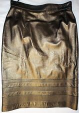 Escada Vintage 1990 Skirt 10 40 Leather Bronze Metallic Gold Pencil High Waist