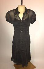 MOTHERHOOD MATERNITY 2pc Set Black Chiffon Tan Dots Blouse Shirt Skirt Small S