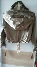 Gold Glanz Vintage Jacke Kapuze Schnallen gold khaki grün Glitzer gr. 36/38/40
