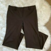 Ann Taylor Signature Women's Fit Wide Leg Dress Pants Dark Brown Size 14