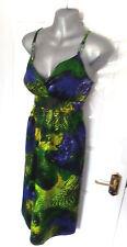 ❤ JULIEN MACDONALD Gorgeous Size 12 Black Lime Royal Silky Dress NEW RRP £50!!