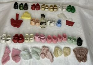 Vintage Ginny, Ginnette  Doll Shoes Lot of 13+ pairs Purse Bottle Gloves Socks