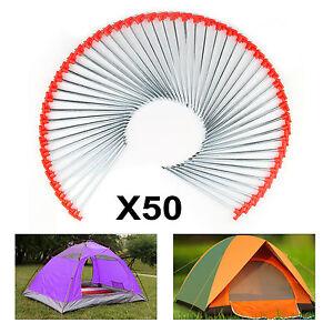 50 X Metal  Tent Pegs Hard Ground Rock Pegs Camping Tent Awning Metal Orange