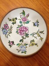 Old Chinese Oriental Hand Painted Enamel Copper Dish/Plate Nice Art Work 1950