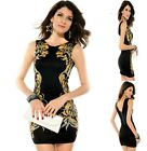 Sz S 8 10 Black Sleeveless Sexy Floral Fashion Formal Cocktail Party Club Dress