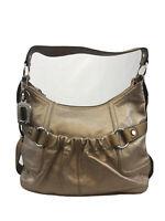 Tignanello Women's Taupe/Bronze Metallic Leather Zip Close Shoulder Bag