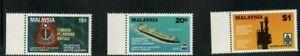 Malaysia Scott #254, #255 PLUS #256a the key value rare perf. 13.5 Variety MNH!