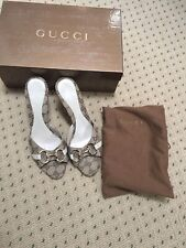 57acdfe98a0e5 New Listing53960 auth GUCCI beige Monogram GG canvas HORSE-BIT Mules Sandals  Shoes 7 1 2B