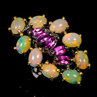 Opal Ring Silver 925 Sterling Beauty Rainbow6x4mm Size 8 /R141133