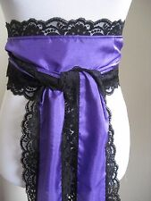 LONG Purple faux Silk & Black Lace Victorian Pirate Steampunk SASH bow silky tie