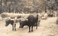MEXICO, SEVERAL OX CARTS LOADED WITH WOOD, REAL PHOTO PC used 1948