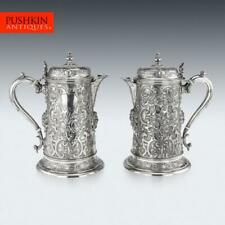 More details for antique 19thc victorian solid silver pair of flagons, martin hall & co c.1875