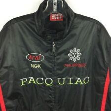 Manny Pacquiao Men's XXL Bomber Jacket Black Red Stripes Boxing Embroidered