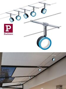 Paulmann LED Seilsystem BlueLED 5x4W Schwarz-Blau-Chrom Schwenkbar UVP 109,00€