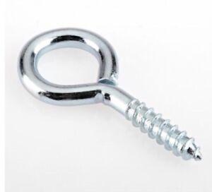 20 X Large Steel 65mm Screw In Wire Eyes Hooks Curtain Thread Twist Loop Hoop